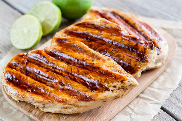 Grilled chicken breasts in lime sauce Stock photo © Alex9500