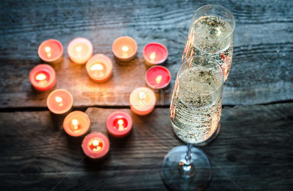 St Valentine's day candles with champagne Stock photo © Alex9500