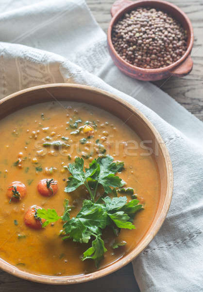 Bowl of lentil curry: top view Stock photo © Alex9500