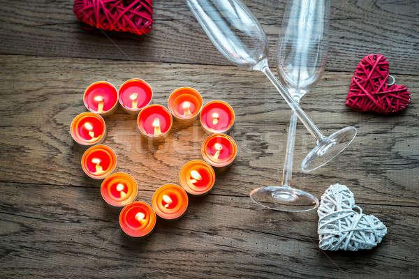 Ardor velas forma corazón dos flautas Foto stock © Alex9500