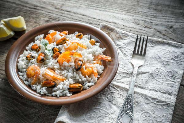 риса морепродуктов рыбы морем фон обеда Сток-фото © Alex9500