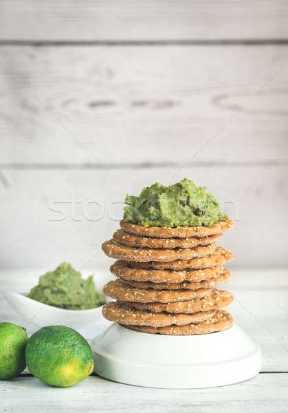 Sesame crispbread with guacamole Stock photo © Alex9500