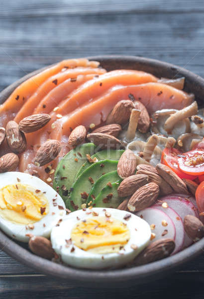 Healthy bowl with salmon, avocado, egg and vegs Stock photo © Alex9500