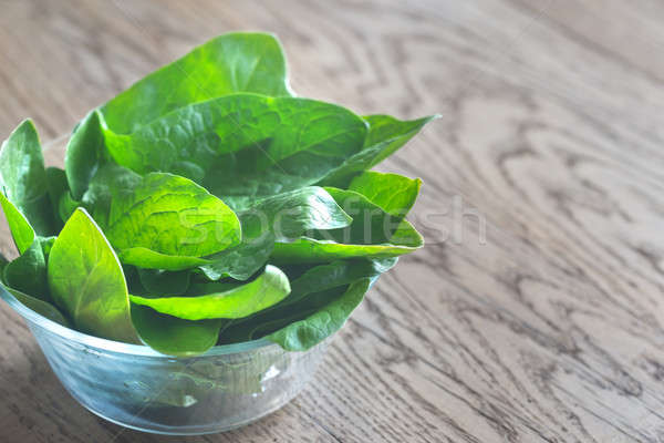 Glass bowl of fresh spinach Stock photo © Alex9500