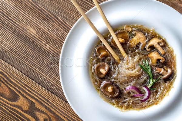 Foto stock: Porción · jengibre · sopa · mesa · de · madera · restaurante · mesa