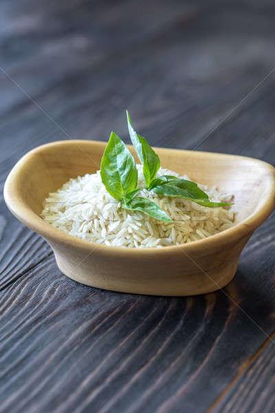 Tigela basmati arroz verde cor asiático Foto stock © Alex9500