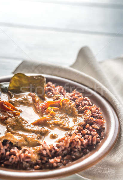 Thai panang curry with red rice Stock photo © Alex9500