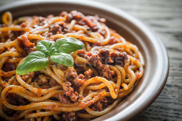 спагетти соус болоньезе фон пшеницы пластина мяса Сток-фото © Alex9500