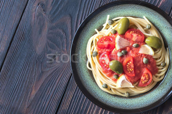 Pasta salsa de tomate aceitunas alimentos petróleo placa Foto stock © Alex9500