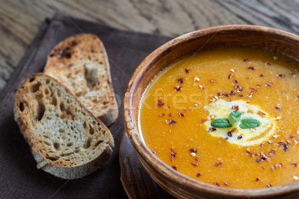 Puchar pikantny dynia krem zupa górę Zdjęcia stock © Alex9500