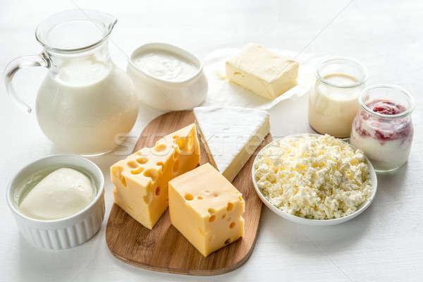 Válogatás tejtermékek gyümölcs asztal sajt tej Stock fotó © Alex9500