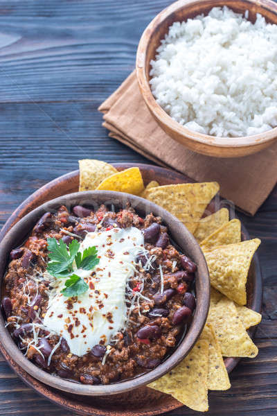 Bowl of chili con carne with white rice Stock photo © Alex9500