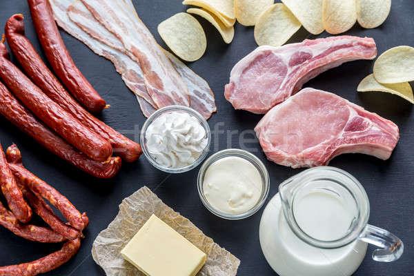 стекла мяса жира белый картофеля кремом Сток-фото © Alex9500