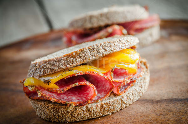 サンドイッチ イタリア語 サラミ 唐辛子 食品 ストックフォト © Alex9500