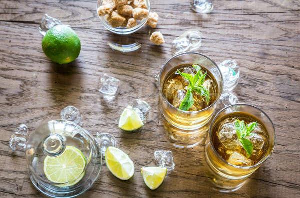 Bril rum partij ijs bar goud Stockfoto © Alex9500