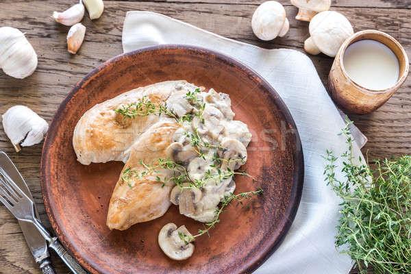Romig knoflook champignon kip groene plaat Stockfoto © Alex9500