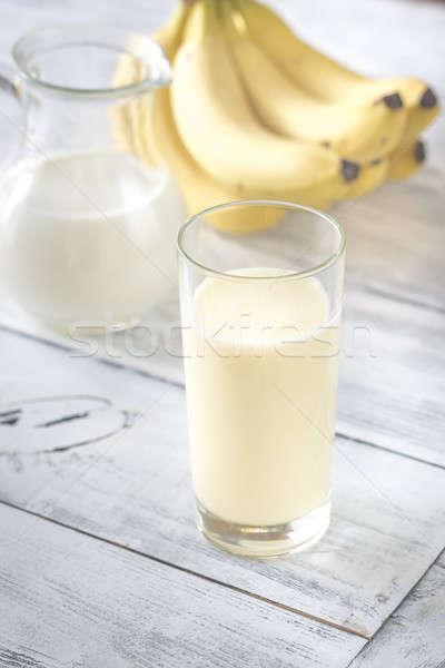 Glass of banana milk shake Stock photo © Alex9500