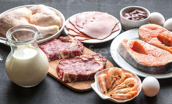 Eiwit dieet ruw producten houten voedsel Stockfoto © Alex9500