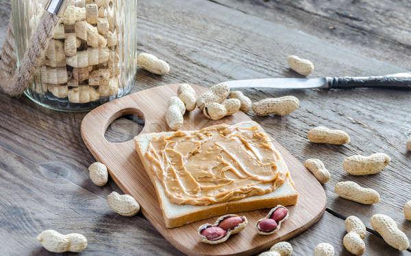 Sandwich pindakaas brood tarwe ontbijt Stockfoto © Alex9500