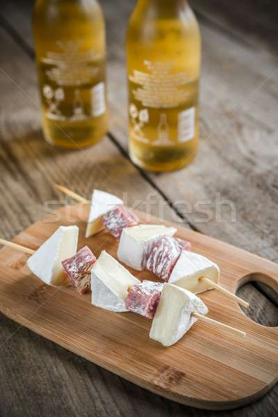 Camembert and salami  skewers Stock photo © Alex9500