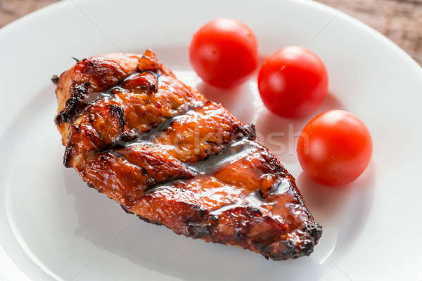 Grilled chicken steak with cherry tomatoes Stock photo © Alex9500