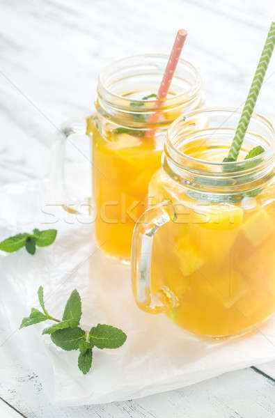 Mango juice in mason jars Stock photo © Alex9500