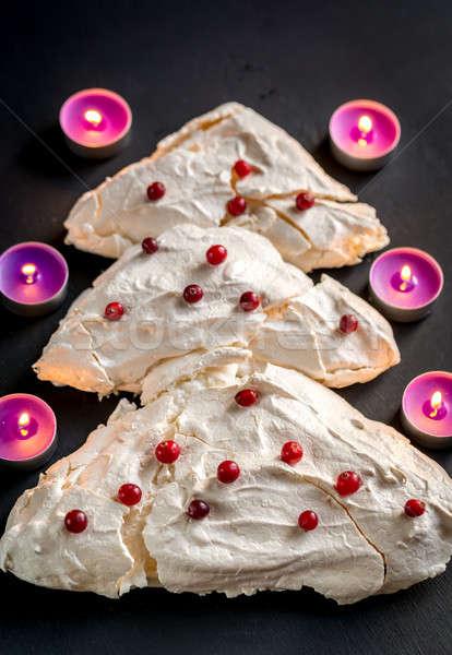 Kerstboom brand vruchten cake tabel kaars Stockfoto © Alex9500