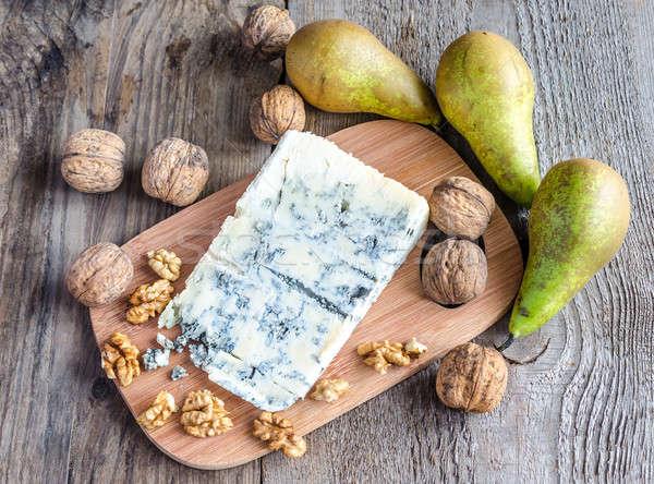 Formaggio tipo gorgonzola pere frutta blu formaggio studio Foto d'archivio © Alex9500