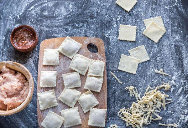 Ingredientes cozinhar ravioli vermelho trigo Foto stock © Alex9500
