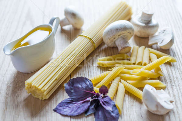 Spaghetti and penne with pasta ingredients Stock photo © Alex9500