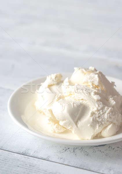 Mascarpone İtalyan krem peynir beyaz yumuşak Stok fotoğraf © Alex9500