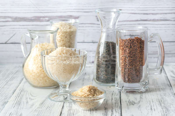 Different kinds of rice on the white background Stock photo © Alex9500