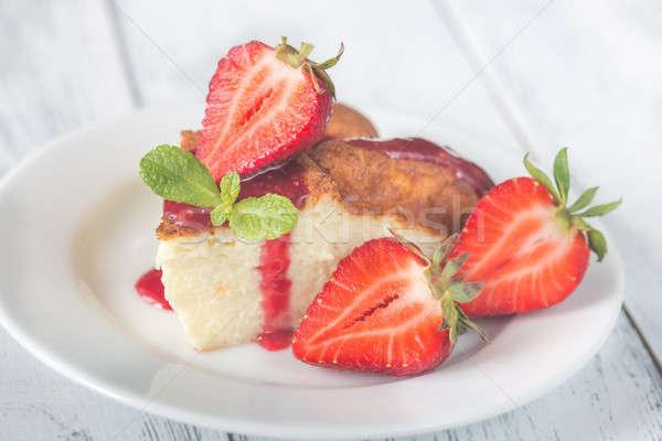 Stock fotó: Szelet · sajttorta · friss · eprek · torta · zöld