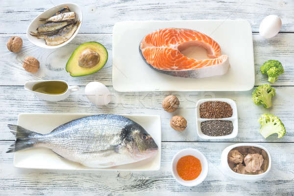 Voedsel omega3 vis zee achtergrond tabel Stockfoto © Alex9500