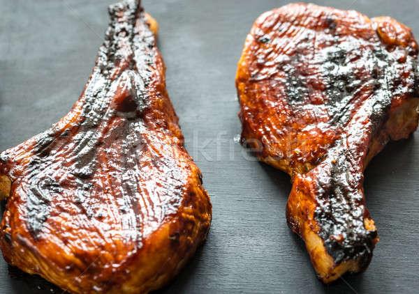 Gegrild varkensvlees houten Rood zwarte Stockfoto © Alex9500