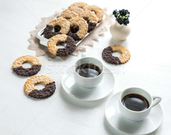 Chocolate cookies with two cups of coffee Stock photo © Alex9500