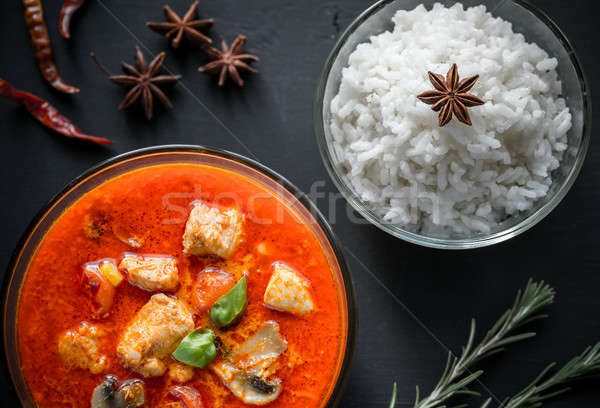 Thai red chicken curry with white rice Stock photo © Alex9500