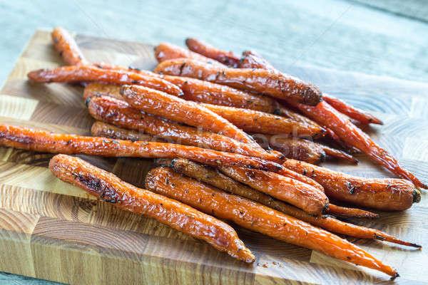 Foto stock: Cenouras · bandeja · comida · bebê · vidro