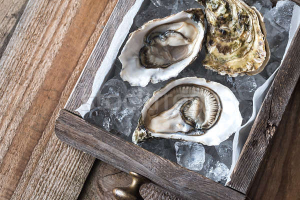 Raw oysters in the wooden box Stock photo © Alex9500