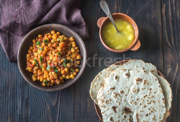 Bowl of chana masala with flatbread Stock photo © Alex9500