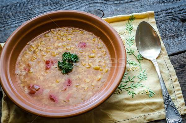Soup with red lentils and bulgur Stock photo © Alex9500