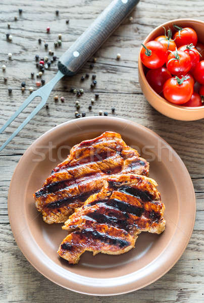 ızgara domuz eti plaka kırmızı domates kiraz Stok fotoğraf © Alex9500