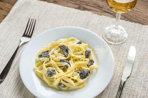 Tagliatelle champignons voedsel achtergrond tarwe plaat Stockfoto © Alex9500