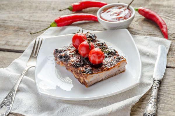 Alla griglia carne di maiale salsa barbecue Foto d'archivio © Alex9500