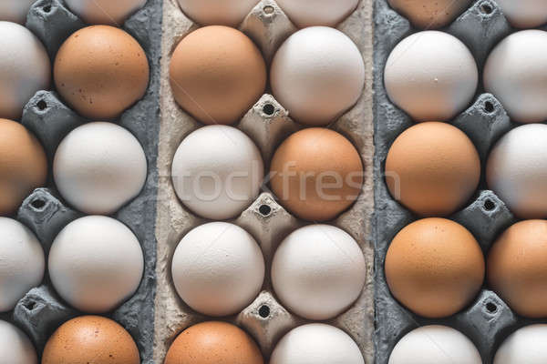 Stock photo: Chicken eggs in the cell egg tray