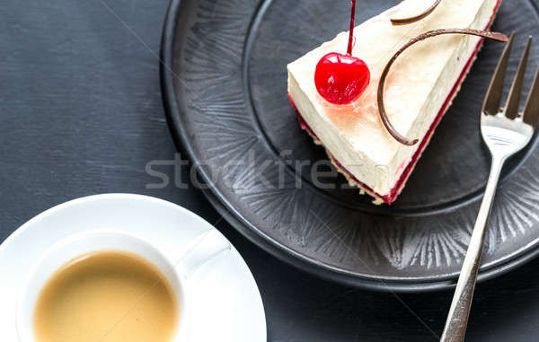 Cheesecake tasse café framboise alimentaire gâteau Photo stock © Alex9500