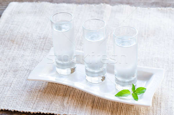 Verres vodka alimentaire fête vert bar Photo stock © Alex9500