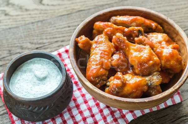 Bowl of buffalo chicken wings Stock photo © Alex9500