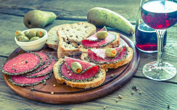 Stock fotó: Szeletek · olasz · szalámi · körték · bor · étel