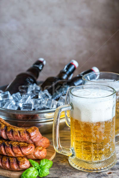 Сток-фото: гриль · пива · бутылок · стекла · обеда